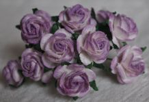 1.5cm 2 Tone LILAC VIOLET Mulberry Paper Roses